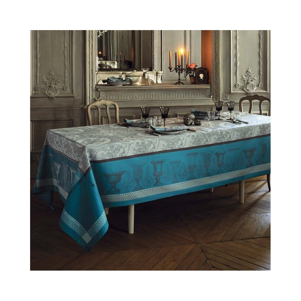 Garnier Thiebaut Flanerie Green Sweet Cotton Tablecloth Stain Resistant