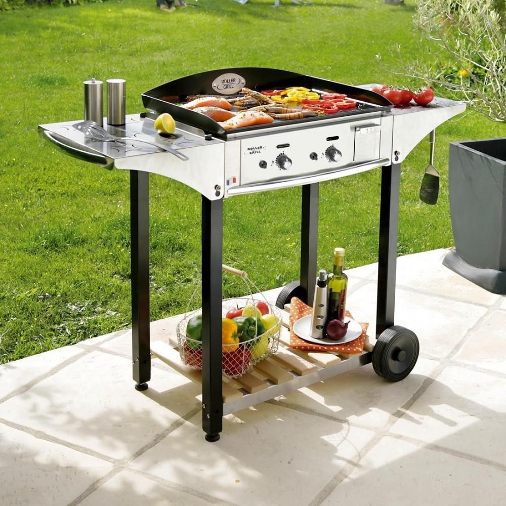 Barbecue Gaz Sans Plancha plancha desserte roller grill 600 gaz